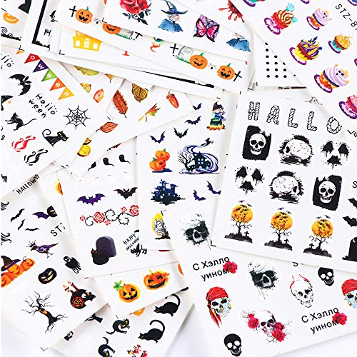 Halloween Nail Stickers Decals Day of The Dead Nail Art Accessories 24 Sheets Autumn Fall Nail Stickers Skull Black Cat Witch Ghost Water Transfer Manicure Fingernails Toenails Decorations