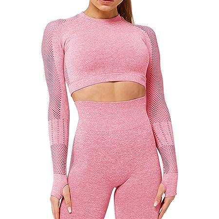 Vertvie Damen Sportshirt Bauchfrei Langarmshirt Fitness Atmungsaktiv Trainningshirt Elastisch Yoga Gym Tshirt Strech Oberteile Tops