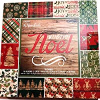 素朴なノエル 6x6 クリスマス スクラップブック ペーパーパッド 48シート 木製 鹿 ヒイラギ 木