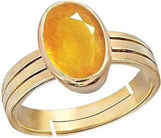 AKSHAY GEMS Certified Yellow Sapphire Pukhraj 4.00-11.00 Carat Panchadhatu Astrology Ring for Men /& Women