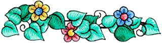 Expo Iron-on Embroidered Applique Patches, BaZooples Flowers on Vine Border