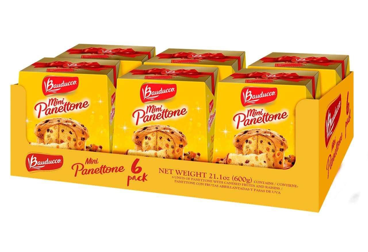 Bauducco Mini Panettone Classic, Moist & Fresh, Traditional Italian Recipe, Holiday Cake, 21.1oz (Pack 6)