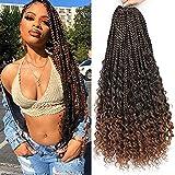 Goddess Box Braids Crochet Hair 22 Inch Bohemian Goddess Box Braids 24Strand/Pack Crochet Goddess Braids 5Packs Bohemian Crochet Box Braids Curly Ends (22Inch (5Packs), T1B/30#)