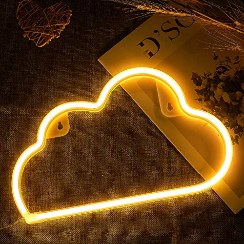 Cloud Shaped Neon Signs Warm White,DYC LED Neon Lights USB/Battery Operated Night Light for Wall Decoration,Party, Kids Room,Bar,Christmas,Wedding,Children Kids Gifts