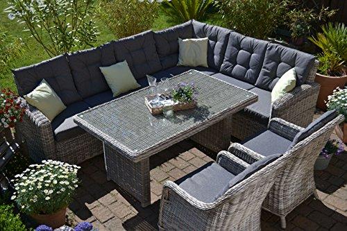 bomey Rattan Lounge Set I Gartenmöbel Set Manhattan C-2 4-Teilig I Gartensofa Grau+ Zwei Sessel + Polster Grau I Essgarnitur für Garten + Terrasse +...