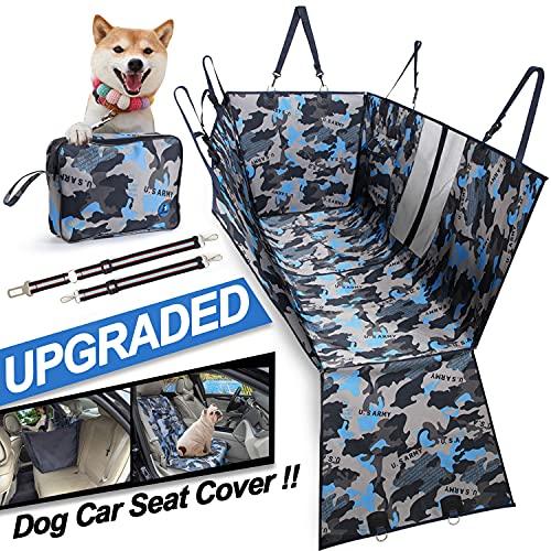 Hunde Autoschondecke Hundedecke Wasserdicht Atmungsaktiv Dauerhaft Hundedecken Teilbar mit Seitenschutz Reißverschlüsse Kofferraumschutz Waschbar Universal Auto Rückbank Tarnung (Blau)