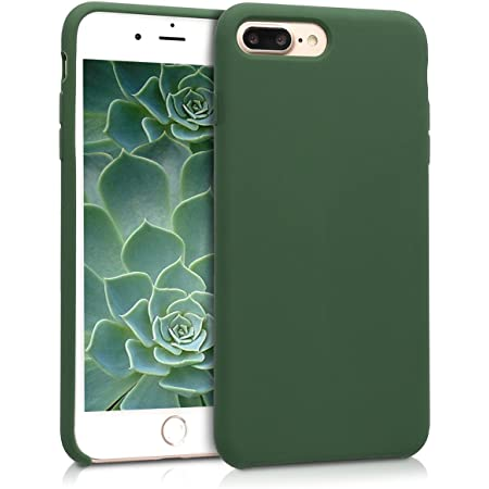 kwmobile TPU Silicone Case Compatible with Apple iPhone 7 Plus / 8 Plus - Case Slim Protective Phone Cover with Soft Finish - Dark Green