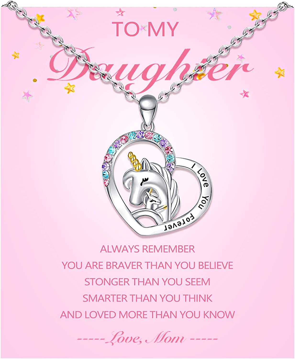 Sincere Max 81% OFF To My Daughter Granddaughter Back to Necklace S Unicorn OFFicial store
