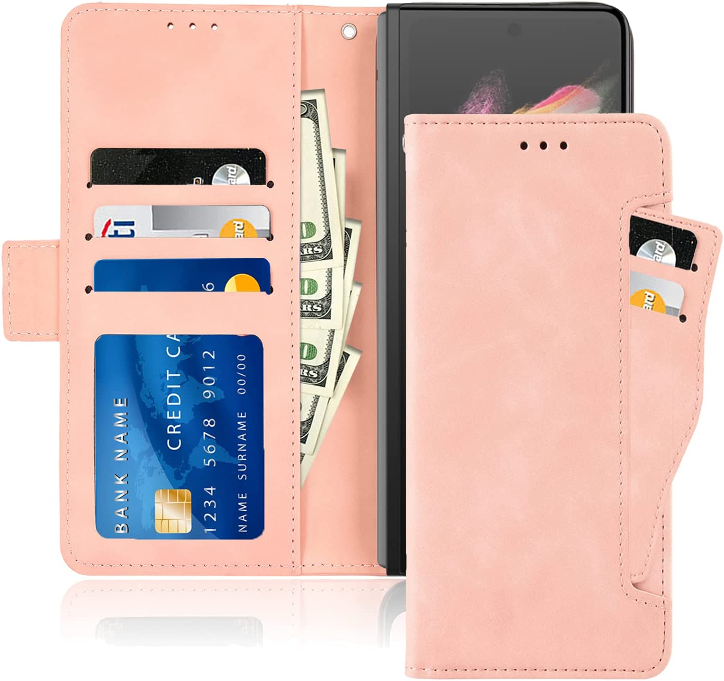 10 Cent Galaxy Z Fold 3 5G Case, Galaxy Z Fold 3 Wallet case, Classic Leather Wallet Foldable Case with Credit Card Holder Slots Flip Wallet Case for Samsung Galaxy ZFold3 5G(Pink)