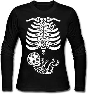 Skeleton X Ray Sugar Skull Baby Women's Long Sleeve Jersey T-Shirt