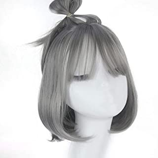 Grandma Ash Color Hair Wig with Air Bangs Women's Short Bob Wig,Hairpieces (Color : Gray)