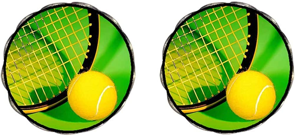 GiftJewelryShop Bronze Retro Style Olympics tennis ball and racket Clip On Earrings Flower Earrings #12
