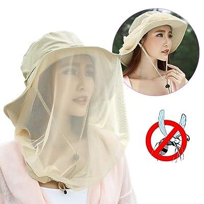 Jackcell Mosquito Head Net Hat, Safari Hat Brea...