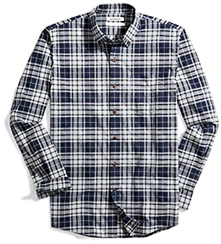 Amazon Brand - Goodthreads Men s Standard-Fit Long-Sleeve Plaid Oxford Shirt Navy Eclipse Heather XX-Large