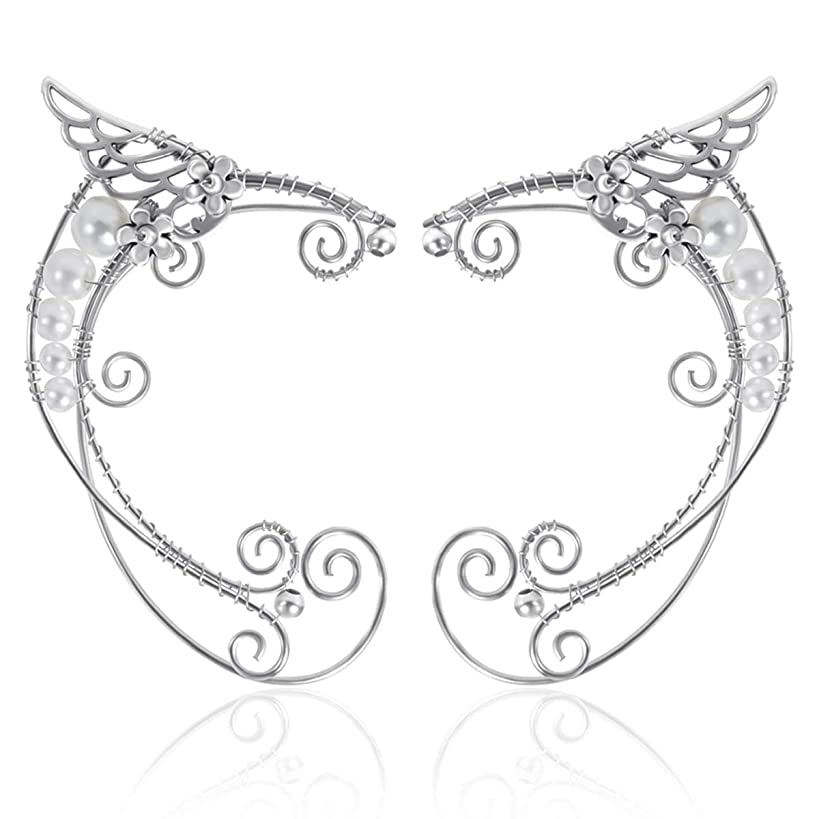 Elf Ear Cuffs, OwMell Silver Pearl Beads Earring Handcraft for Filigree Fairy Elven Cosplay Fantasy Costume