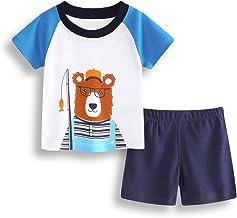 Hooyi Toddler Boy Cotton Clothes Suit Fish BearT-Shirt Panties Boy Costume Jumper