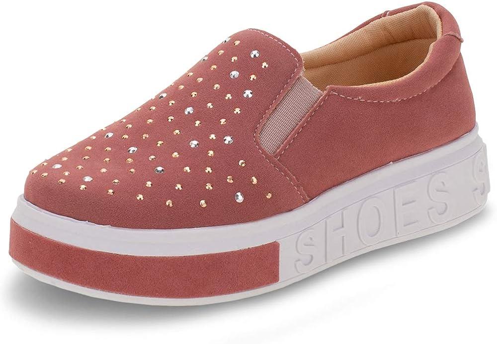 Kids' Slip on Platform Sneaker Glitter Sparkle Cute Comfort Girl Pink