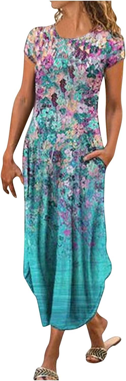 ZiSUGP Maxi Dresses for Women Summer Ladies Printed Slim Short Sleeve Split Mid-Length Casual Dress