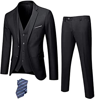 YND Men's Slim Fit 2 Button 3 Piece Suit Set, Solid Blazer Jacket Vest Pants & Tie