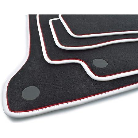 Kh Teile Fußmatten W205 S205 Original Premium Qualität Velours Automatten 4 Teilig Schwarz Mit Edler Weißer Nubukeinfassung Und Rotem Zierband Auto