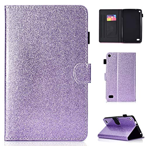 LMFULM Case for Amazon Fire 7 2015/2017 (7 Inch) PU Magnetic Cover Shining Case Stent Function Holster Leather Case Flip Cover for Amazon Fire 7 2015/2017 Tablet PC Purple