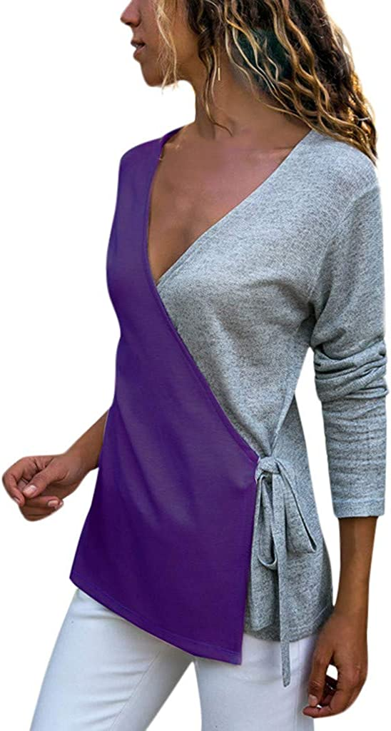 Misaky Women's Loose Casual Blouse V-Neck Patchwork Outlet sale feature Sleeve Max 44% OFF Long