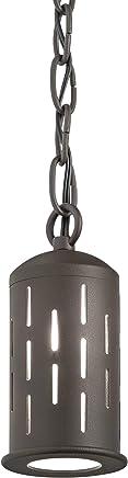 Kichler Lighting 15849AZT ワンライト アウトドアペンダント テクスチャード加工 建築ブロンズ仕上げ つや消しガラス