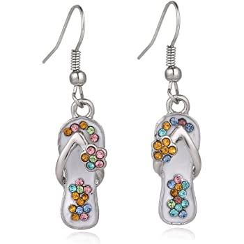 Liavy's Multi-Color Flip-Flop Sandals Fashionable Earrings - Fish Hook - Sparkling Crystal - Unique Gift and Souvenir
