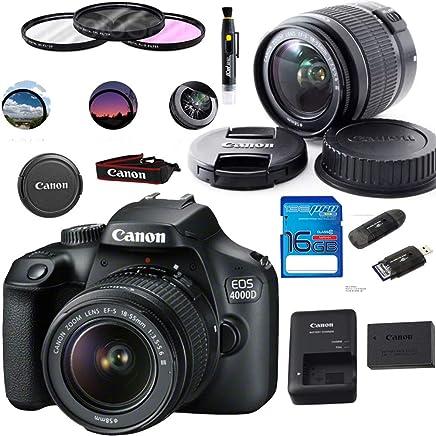 Canon EOS 4000D / T100 - Cámara digital con objetivo EF-S 0.709-2.165in F/3,5-5,6 III + accesorios básicos