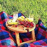 Ghzste Mesa de picnic de madera al aire libre plegable Snack mesa portátil 2 en 1 mesa de vino con soporte de soporte, mesa de picnic creativa para el jardín de casa, camping de viaje, fácil de llevar
