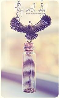 Collana bottiglia in vetro piuma. Piccola piuma bottiglia collana. Collana carina. Collana bronzo in miniatura piuma colla...