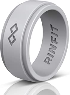 Rinfit Silicone Wedding Ring for Men 1 or 3 Rings Pack. Designed, Safe & Soft Men's Silicon Rubber Bands. Comfortable & Durable Wedding Band Replacement. U.S. Design Patent Pending. Size 7-14