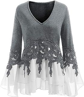 Shirt Women V Neck Long Sleeve Elegant Loose Stretch Irregular Hem Modern Ruffles Chiffon Lace Patchwork Blouse Sweatshirt...