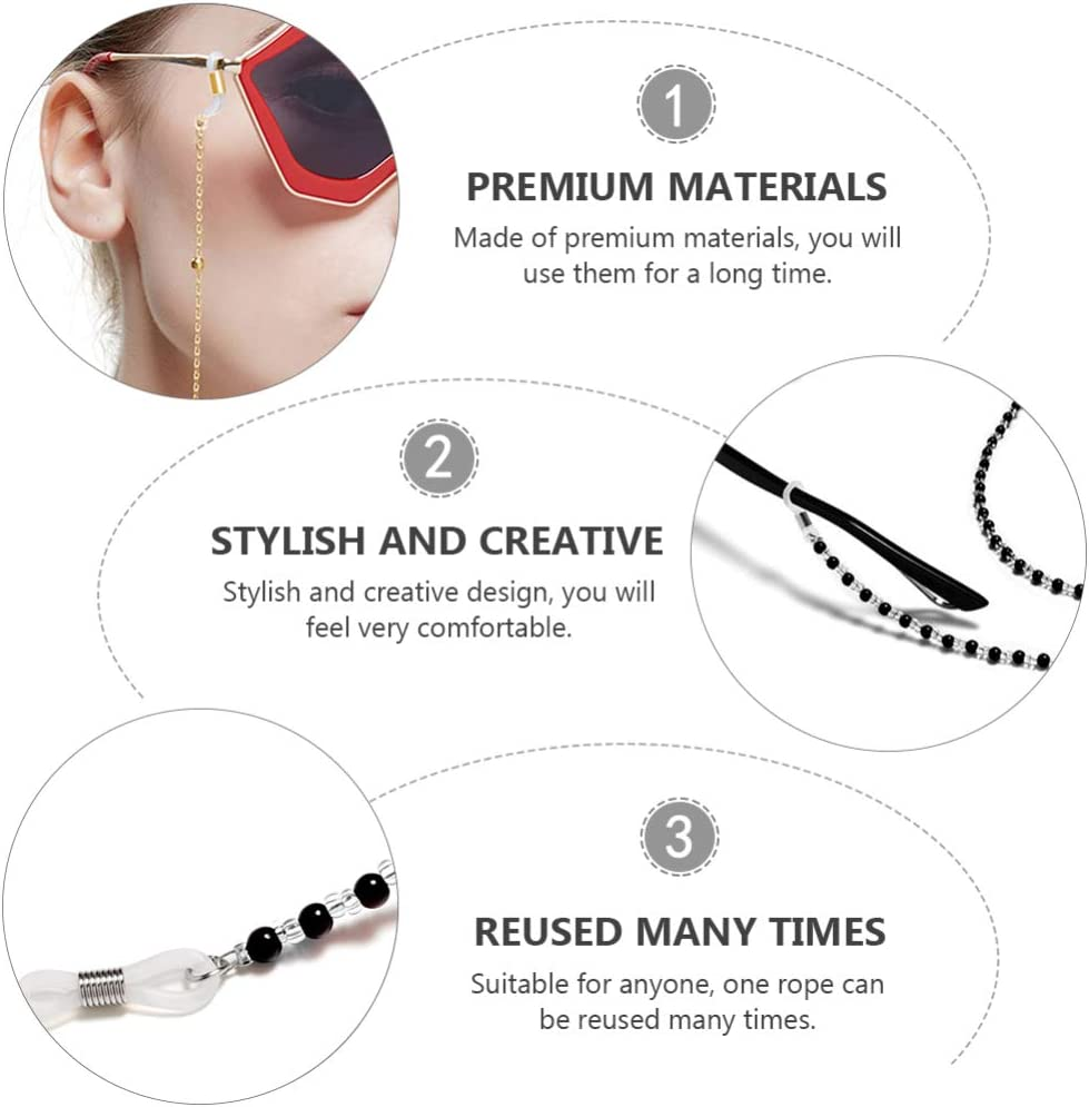 Beaupretty 4Pcs Eyeglasses Strap Chains Cord Adjustable Face Cover Chain Lanyard Beaded Face Bandanas Clip Holder Glasses Neck Strap Ear Pain Relief