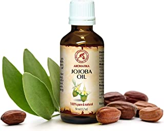 Jojoba Oil 1.7oz - Simmondsia Chinensis Seed Oil - 100% Pure & Natural - Golden Jojoba Oil Best Benefits for Skin - Hair - Face - Body - Excellent w/Essential Oil -for Beauty - Aromatherapy - Massage