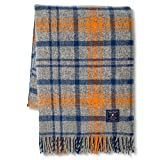Faribault Woolen Mill Company Plaid Wool Throw - Heather Grey/Blue