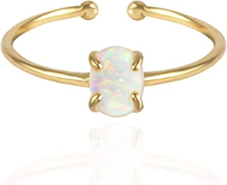 MUSTHAVE 14K Rose Gold Plated Opal Ring, White/Green/Pink Opal Ring, Adjustable Size