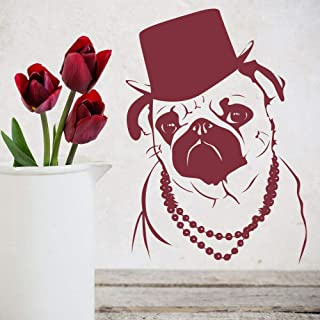 Funny Pug Wall Decal top hat Cool Style Necklace Vinyl Window Sticker pet Shop Animal Interior Decoration Mural