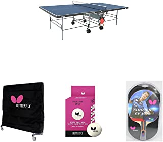 Butterfly Playback Rollaway Table Tennis Table in Blue with Weatherproof Cover, 2 Timo Boll Carbon Fiber Rackets, and 6 Balls