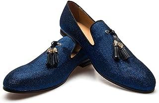 Men's Vintage Velvet Metal Loafers Shoes Slip-on Loafer Smoking Slipper