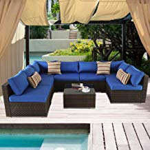 Outdoor Rattan Couch 8pcs Brown Wicker Sectional Conversation Sofa Set Lawn Garden Patio Furniture Set Jetime