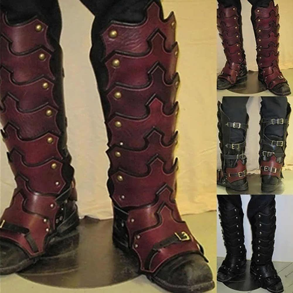 Limited price TZH Finally resale start 1 Pair Leather Leg Gaiters Medieval Retro Steampunk Armor L