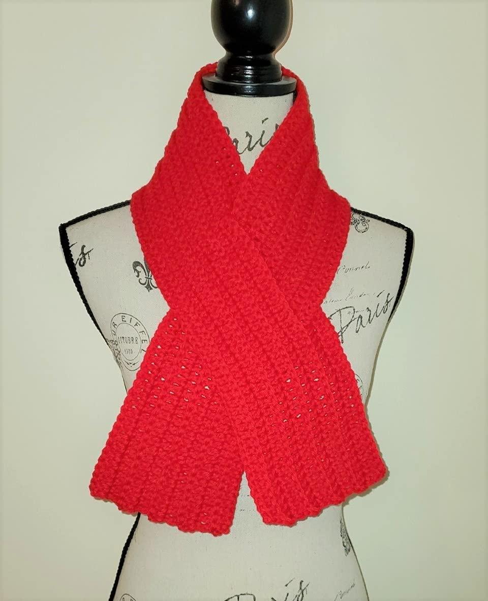 Red Ribbon Scarf - Neck w Milwaukee Mall Warmer Design Keyhole Jacksonville Mall