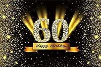 HD 7x5ftビニール写真の背景ハッピー60歳の誕生日ゴールデンダイヤモンドの言葉スパンコールステージライト黒の背景に祖父祖母誕生日パーティーの装飾写真スタジオプロップ