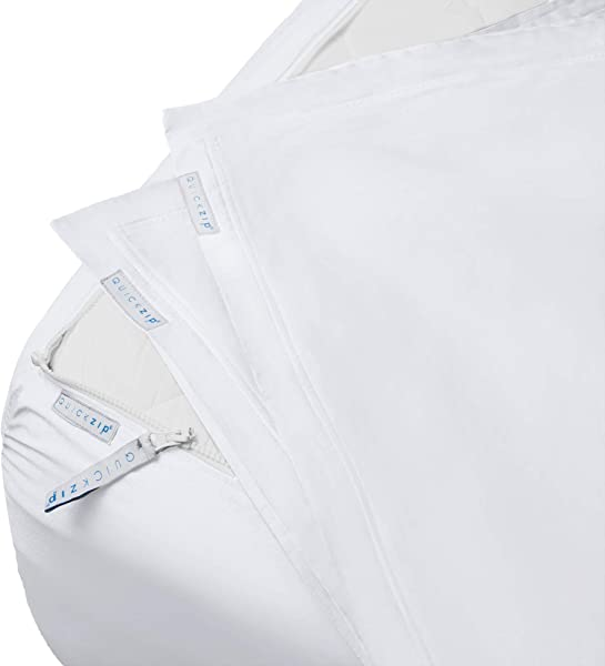QuickZip Fitted Sheet Includes 1 Fitted Sheet Base 2 Zip On Sheets Easy To Change Fold Wash Queen Sheet Soft Sateen 400 TC Cotton Fitted Sheets 16 Deep Pockets Queen Size Sheets White