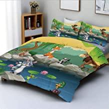 Duplex Print Duvet Cover Set Twin SizeFunny Mascots Animals by The Lake Moose Fox Squirrel Raccoon Kids Nursery ThemeDecorative 3 Piece Bedding Set with 2 Pillow Sham,Multi,Best Gift for Kids & Adult