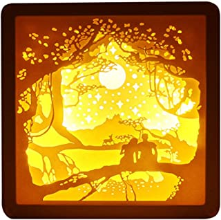 KESYOO Valentines Day Night Light 3D Paper Sculptures Frame Night Lamp Decorative Valentines Day Night Lamp Her Women Girls