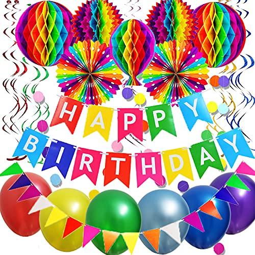 Decoraciones de cumpleaños, decoraciones para fiestas, pancartas de feliz cumpleaños, globos de cumpleaños, decoraciones de panal, bolas de flores de papel, arcoíris, reutilizables