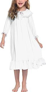 Ekouaer Girls Nightgowns Long Sleeve Sleep Shirt Cotton Princess Sleepwear Pajama Dress 4-13 Years, White, 12-13 Years