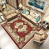qijidzswyxgs lfombra Estilo Oriental Alfombra clásica Flor roja Beige Adecuado para salón baño sofá Silla cojín 140x200CM